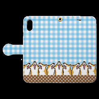 真希ナルセ(マキナル)の手帳型スマホケース(歌う赤柴) Book-style smartphone caseを開いた場合(外側)