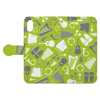 楽器(緑) Book-style smartphone case