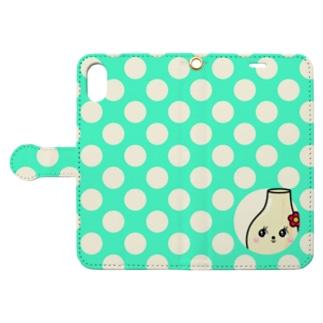 【非公式】鳥取砂丘グッズ_004_名物・らっきょう(レトロキャラ) Book-style smartphone case
