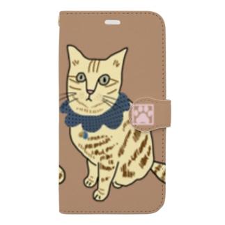 茶トラ スマホケース 茶 Book-style smartphone case