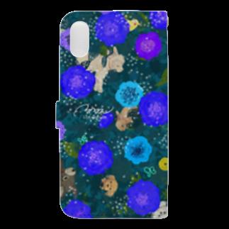 ルルエチュードのわいわいブーケ(ブルー) Book-style smartphone caseの裏面
