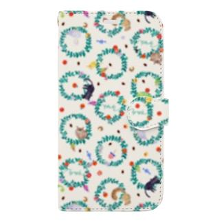 ぐるぐるリース(ミルク) Book-style smartphone case