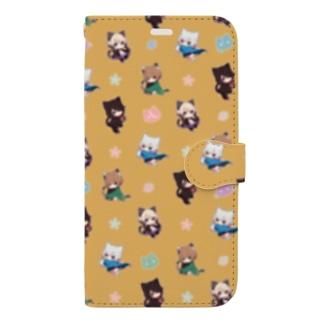 猫少年手帳型【イエロー】 Book-Style Smartphone Case