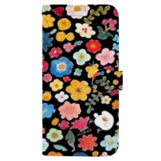 黒い花畑 Book-style smartphone case