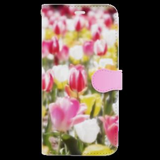 akane_artのチューリップ Book-style smartphone case