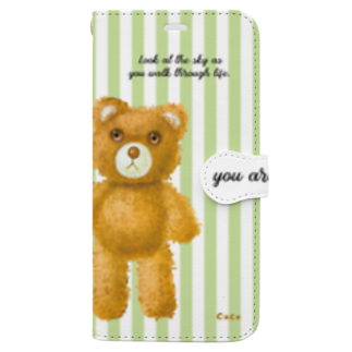 cocoartの雑貨屋さんの【you are not alone.】(茶くま)iPhone XS Max Book-style smartphone case