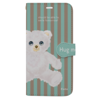 cocoartの雑貨屋さんの【Hug me】(白くま)iPhone XS Max Book-style smartphone case