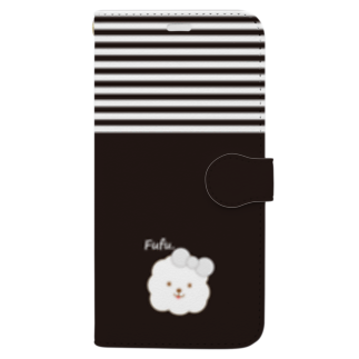 【COLOM.】コロ。のビションフリーゼ犬【ふうふう】黒細ボーダースマホケース Book-style smartphone case