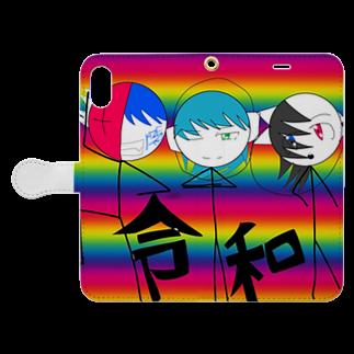 固ツイマジかわいいから見てくれ オリ棒作者公式KZR(カゼロ)❌KGR(コガル)カゼちゃん康生の令和カゼちゃん Book-style smartphone caseを開いた場合(外側)