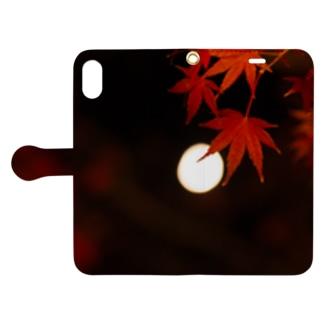 ボケた月と紅葉 Book-Style Smartphone Case