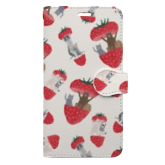 トコロコムギのフルーツアニマル・いちご Book-style smartphone case