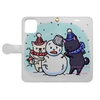 雪だるま! Book-style smartphone case