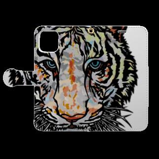 もえだまめのWhite  tiger Book-style smartphone caseを開いた場合(外側)