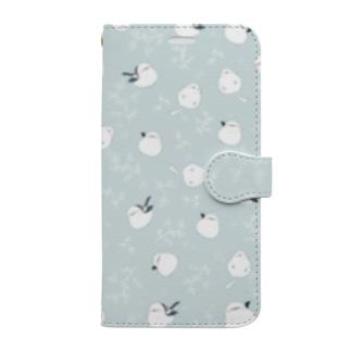 シマエナガ ブルー Book-style smartphone case