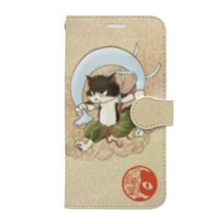 風猫雷猫図屏風 Book-style smartphone case