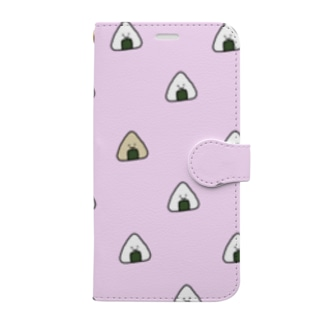 おにぎりいっぱい ピンク Book-style smartphone case