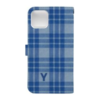 Yokohama blue チェック柄 Book-style smartphone case