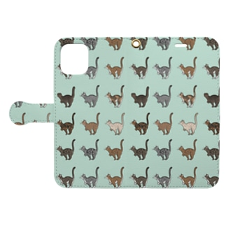 豆つぶのTabbies Cat(総柄) Book-style smartphone caseを開いた場合(外側)