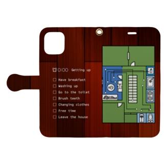 モーニングルーティン 緑 Book-style smartphone case
