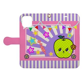 【非公式】鳥取砂丘グッズ_003_名物・20世紀梨(レトロキャラ) Book-style smartphone case