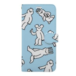 4コマーズ水色 Book-style smartphone case