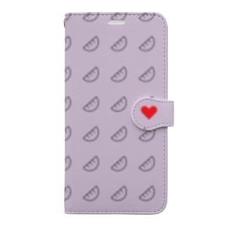 およげ!ぎょうざちゃん🥟パープルver. Book-style smartphone case