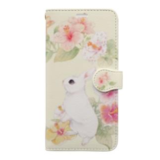 ハイビスカスうさぎ Book-style smartphone case