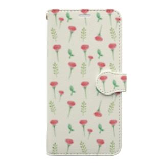 愛菜のポピー柄(黄色) Book-style smartphone case