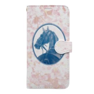 サラブレッドの肖像画(ピンク) Book-style smartphone case
