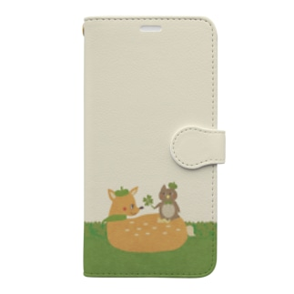iPhone 11用◆ema-emama『happiness-clover』 Book-style smartphone case