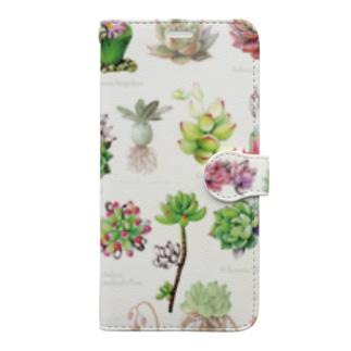 多肉植物図譜 手帳型スマホケース Book-style smartphone case