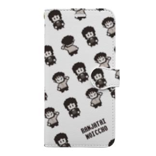 ドット絵総柄 モノクロver. Book-style smartphone case