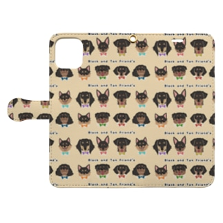 Black and Tan Friend's(総柄2) Book-style smartphone case