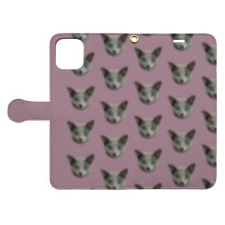 おすましライカにゃん 紫 Book-style smartphone case