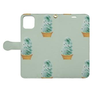 madeathのチョコミントソフト(黄緑) Book-style smartphone caseを開いた場合(外側)