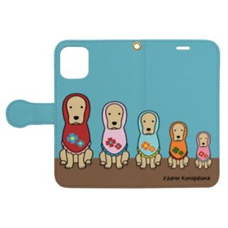 コメリョーシカ(ブルー) Book-style smartphone case