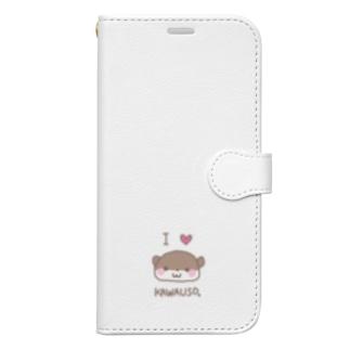羊毛フェルトのMOFFU.(もっふ)のあいらぶカワウソ Book-style smartphone case