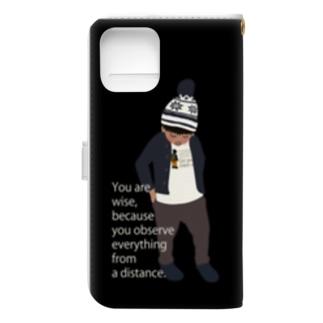 ノルディック帽の少年BK(スマホサイズ) Book-style smartphone case