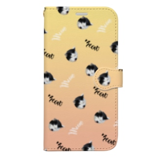 meow ~白黒猫~ Book-style smartphone case