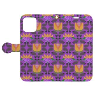 mint julepのウマとネコとナスとハナ(紫) Book-style smartphone caseを開いた場合(外側)