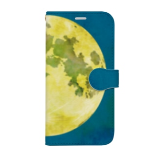 月(青地) Book-style smartphone case