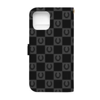 蹄鉄市松模様 iPhone 12Pro 黒 Book-style smartphone case
