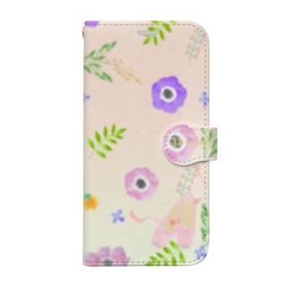 花柄バレエ31Lucky(pink&green) Book-style smartphone case