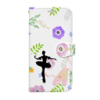 花柄バレエ21Bloom (オーロラ) Book-style smartphone case