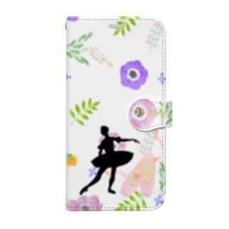 バレエシルエット ballet*pointe_pon*の花柄バレエ15Happy (金平糖の精) Book-style smartphone case