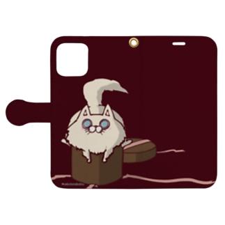 箱に入ろうとする猫 Book-style smartphone case