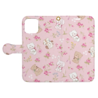 characters & flower Book-style smartphone case