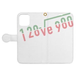 よく見ると I love you(パステル) Book-style smartphone case
