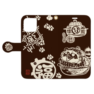 茶釜の化狸 物置 Book-style smartphone case