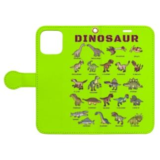 ちょっとゆるい恐竜図鑑 手帳型スマホケース (ライトグリーン) Book-Style Smartphone Case
